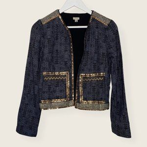 UO Ecote Sequin Trim Open Front Blazer w/ Pockets